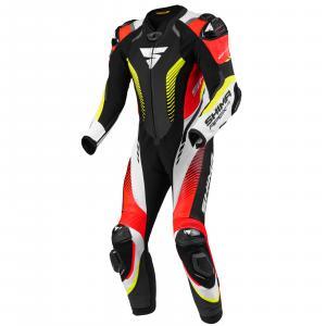 Jednoczęściowy kombinezon motocyklowy Shima Apex RS czarno-biało-czerwono-fluo żółty