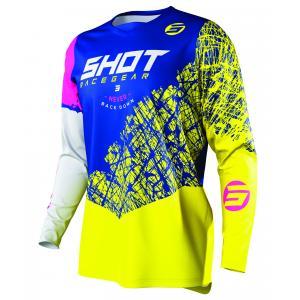 Motocrossowa koszulka Shot Devo Storm niebiesko-żółto-biało-różowa