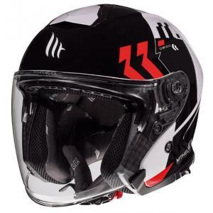 Otwarty kask motocyklowy MT Thunder 3 SV Venus czarno-biało-czerwony - II. jakość