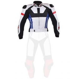 Skórzana kurtka motocyklowa Tschul 580 biało-czerwono-niebiesko-czarna - II. jakość
