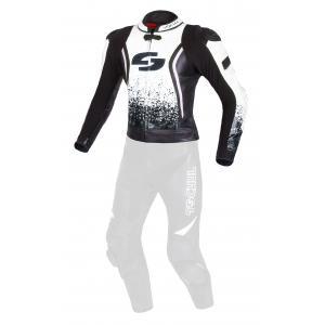 Skórzana kurtka motocyklowa Tschul 585 czarno-biała