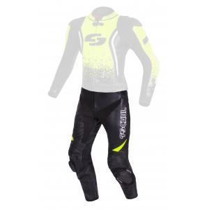 Skórzane spodnie motocyklowe Tschul 585 czarno-fluo żółte