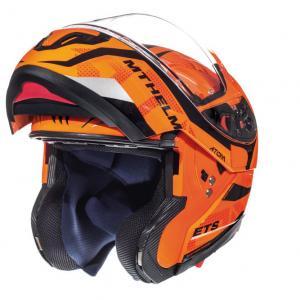 Szczękowy kask motocyklowy MT Atom Divergence fluo pomarańczowy wyprzedaż
