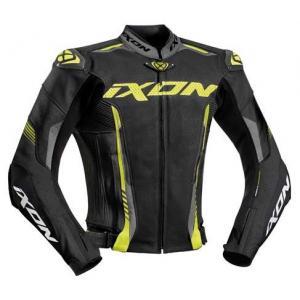 Skórzana kurtka motocyklowa IXON Vortex 2 czarno-fluo żółta