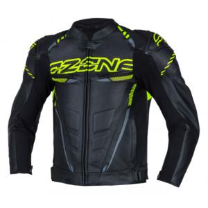 Skórzana kurtka motocyklowa Ozone RS600 czarno-fluo żółta