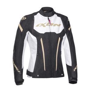 Dámská bunda na motorku IXON Striker černo-bílo-zlatá