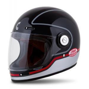 Integrální přilba na motorku Cassida Fibre Jawa Sport černo-stříbrno-červená