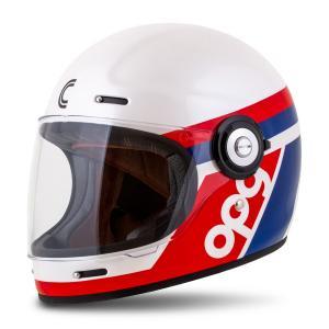 Integrální přilba na motorku Cassida Fibre OPG, bílo-modro-červená