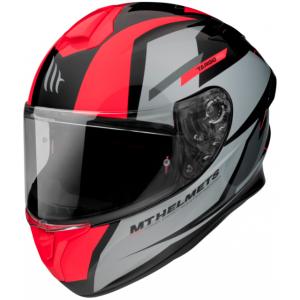 Integralny kask motocyklowy MT FF106 Pro Targo Pro Sound czarno-szaro-fluo czerwony
