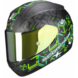 Integralny kask motocyklowy Scorpion EXO-390 Cube czarno-zielony wyprzedaż