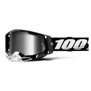 Motokrosové brýle 100% RACECRAFT 2 černé (stříbrné zrcadlové plexi)
