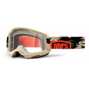 Motokrosové brýle 100% STRATA 2 béžové (čiré plexi)
