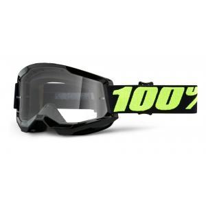 Motokrosové brýle 100% STRATA 2 černé lesklé (čiré plexi)