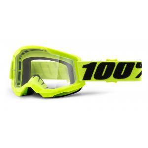 Motokrosové brýle 100% STRATA 2 fluo žluté (čiré plexi)