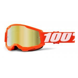Motokrosové brýle 100% STRATA 2 oranžové (zlaté zrcadlové plexi)