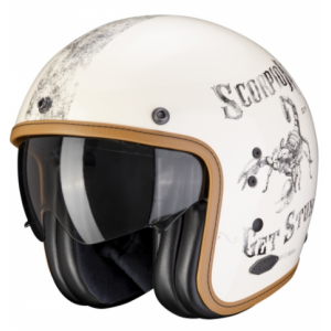 Otwarty kask motocyklowy Scorpion Belfast Pique biały