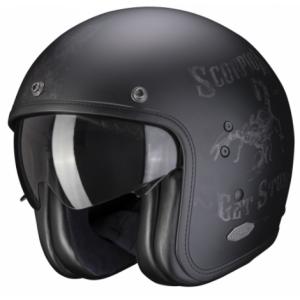 Otwarty kask motocyklowy Scorpion Belfast Pique czarny