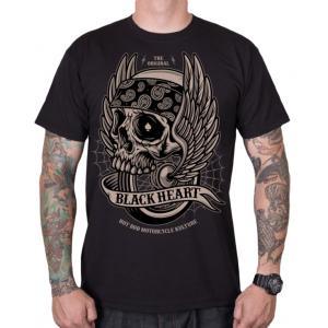 Pánské triko Black Heart Wings Skull