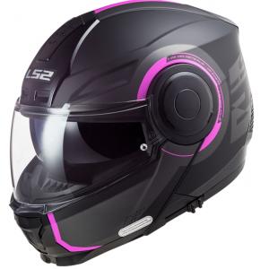Szczękowy kask motocyklowy LS2 FF902 Scope Arch czarno-różowy matowy