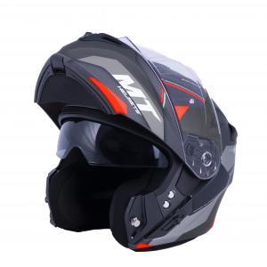Vyklápěcí přilba na motorku MT Storm ST-ONE černo-šedo-červená