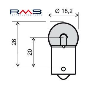 Bulb RMS 246510215 12V 10W, G18 orange