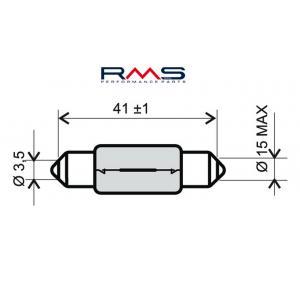 Bulb RMS 246510145 12V 15W, T15X44 S8.5 white