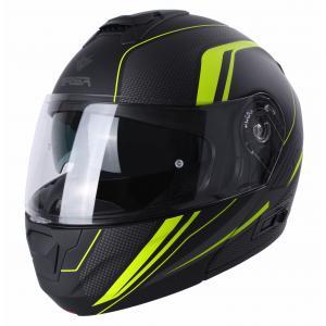 Szczękowy kask motocyklowy RSA Rival czarno-siwo-fluo-żółta
