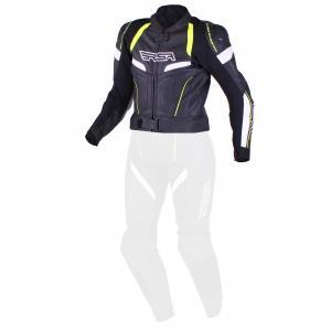 Damska skórzana kurtka motocyklowa RSA Speedway czarno-biało-fluo żółta wyprzedaż