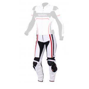 Damskie skórzane spodnie motocyklowe RSA Virus biało-czarno-czerwone wyprzedaż