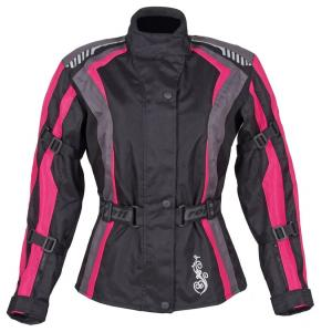 Damska kurtka motocyklowa Roleff Estretta czarno-różowo-szara