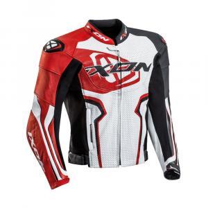 Skórzana kurtka motocyklowa IXON Falcon biało-czerwono-czarna