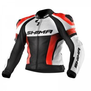 Skórzana kurtka motocyklowa Shima STR czarno-biało-fluo czerwona wyprzedaż