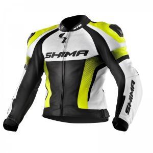 Skórzana kurtka motocyklowa Shima STR czarno-biało-fluo żółta wyprzedaż