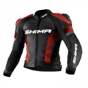 Skórzana kurtka motocyklowa Shima STR czarno-czerwona wyprzedaż
