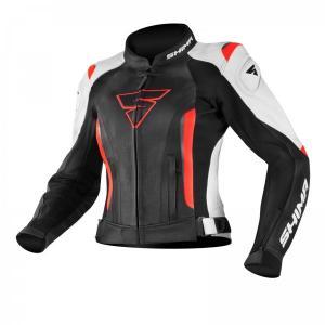 Damska skórzana kurtka motocyklowa Shima Miura czarno-biało-fluo czerwona wyprzedaż