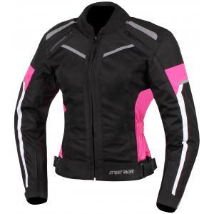 Damska kurtka motocyklowa Street Racer Betty czarno-biało-różowa