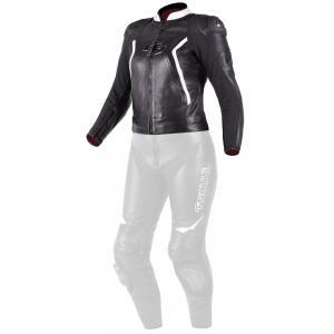 Damska skórzana kurtka motocyklowa Tschul 536 czarno-biała
