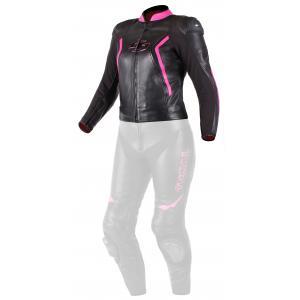 Damska skórzana kurtka motocyklowa Tschul 536 czarno-różowa