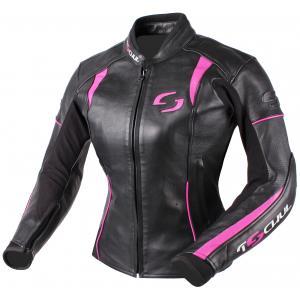 Damska skórzana kurtka motocyklowa Tschul 828 czarno-różowa