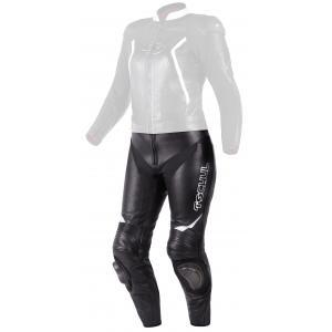 Damskie skórzane spodnie motocyklowe Tschul 536 czarno-białe