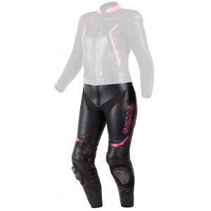 Damskie skórzane spodnie motocyklowe Tschul 536 czarno-różowe