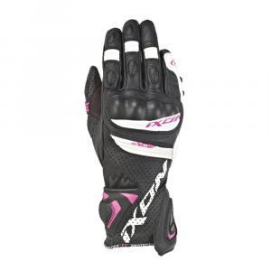 Damskie rękawice motocyklowe IXON RS Tempo AIR czarno-biało-różowe