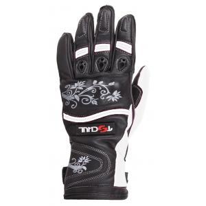 Damskie rękawice motocyklowe Tschul 301 czarno-białe