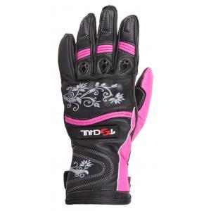 Damskie rękawice motocyklowe Tschul 301 czarno-różowe