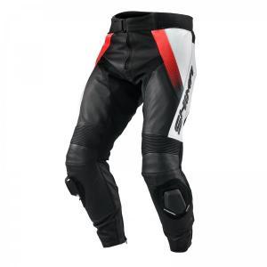 Skórzane spodnie motocyklowe Shima STR czarno-biało-fluo czerwone wyprzedaż