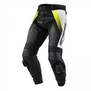 Skórzane spodnie motocyklowe Shima STR czarno-biało-fluo żółte wyprzedaż