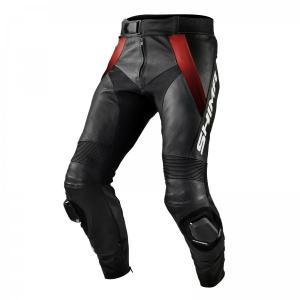 Skórzane spodnie motocyklowe Shima STR czarno-czerwone wyprzedaż