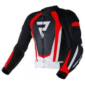 Skórzana kurtka motocyklowa Rebelhorn Piston II PRO czarno-biało-fluo czerwona wyprzedaż