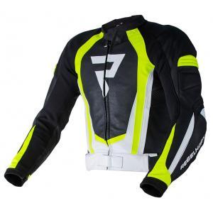 Skórzana kurtka motocyklowa Rebelhorn Piston II PRO czarno-biało-fluo żółta wyprzedaż