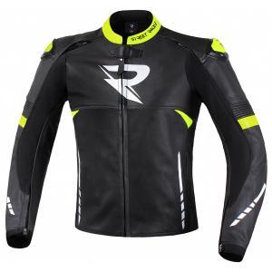 Skórzana kurtka motocyklowa Street Racer Bexter czarno-biało-fluo żółta